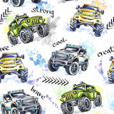 Monsteres truck inconsútiles de la historieta del modelo de la acuarela Fondo extremo colorido de los deportes 4x4 Vehículo SUV d libre illustration
