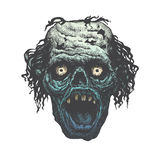Monstergezicht die met scherpe tanden gillen Stock Afbeelding