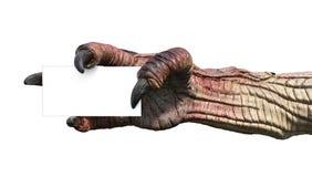 Monsterhand met Adreskaartje Stock Foto