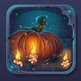 Monsterkampf GUI-Ikone - Kürbis und Kerzen lizenzfreie abbildung