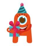 Monsterkarikatur mit Parteihut und Geschenk lokalisierte Ikone entwerfen Lizenzfreies Stockfoto