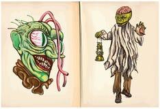 Monsterkopf und Leiche - ein Hand gezeichneter Vektor Stockfotos