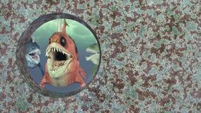 Monsterlijke vissen en schipbreuk Royalty-vrije Stock Afbeeldingen
