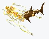 Monsterpijlinktvis die een hummerhaai bestrijden stock illustratie