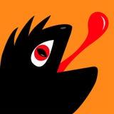 Monsterreptil-Kopfschattenbild mit Auge des roten Teufels Lizenzfreies Stockbild