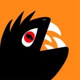 Monsterreptil-Kopfschattenbild mit Auge des roten Teufels Lizenzfreie Stockbilder
