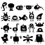 Monsters. Collection of cartoon funny monsters silhouettes Stock Photography