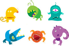 Monsters. A set of stylized funny monsters Stock Photos