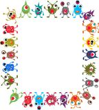 Monsters. A frame of colorful funny monsters Royalty Free Stock Photo