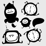 Monsters. Set of monsters silhouettes with tv, rocket, clock and small bubble, vector illustration Stock Illustration