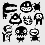 Monsters. Set of few monsters silhouettes with different emotions Stock Illustration