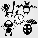 Monsters. Set of five monsters silhouettes: angry, scared, running, caught and hidden, illustration Stock Illustration