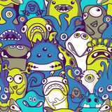 Monsters and aliens- seamless background. Seamless pattern funny monsters and aliens Royalty Free Stock Photos