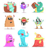Monsters Attending Posh Glamorous Party. Funky Creatures Colorful Characters With Party Attributes On White Background Stock Photography