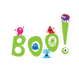Monsters on the background of the word boo Stock Photography