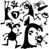 Monsters-bacteria. Silhouettes of doodle monsters-bacteria vector illustration