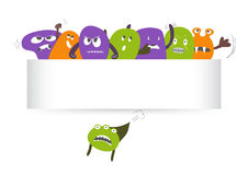 Monsters With Banner Royalty Free Stock Photo