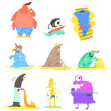 Monsters On The Beach Illustration Collection Royalty Free Stock Image
