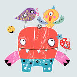 Monsters and birds. Funny monsters and bright decorative birds on a light gray background Royalty Free Stock Images