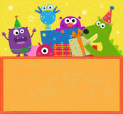Monsters Birthday Banner Stock Image