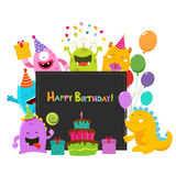 Monsters Birthday Card Royalty Free Stock Photography