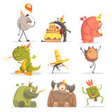 Monsters On Birthday Party In Funny Situations. Royalty Free Stock Image