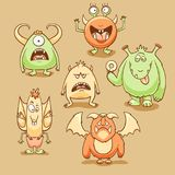 Monsters cartoon set royalty free illustration