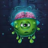 Monsters cartoon slug with brains Royalty Free Stock Photos