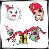 Monsters christmas. Monsters celebrating christmas or new year Royalty Free Stock Photography
