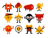 Monsters collection. A colorful funny monsters set Royalty Free Stock Images