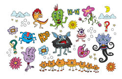Monsters colorful  flowers animals kids Stock Photo