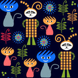 Monsters dark seamless pattern and seamless pattern in swatch me Royalty Free Stock Images
