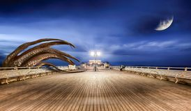 Monsters from the deep. Monster octopus attacking the seaside pier at night, coming up from the sea. Moon and stars with a blue sky. Digital fantasy artwork Royalty Free Stock Images