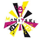 Monsters Doodle. Illustration of a cute monsters doodle Stock Illustration