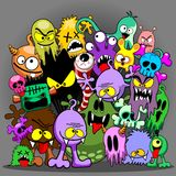 Monsters Doodles Spooky Characters Stock Images