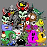 Monsters Doodles Spooky Halloween Characters Royalty Free Stock Photo