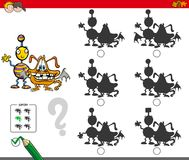 Monsters educational shadow game. Cartoon Illustration of Finding the Shadow without Differences Educational Activity for Children with Comic Monster Characters Stock Photos