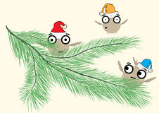 Monsters on a fir-tree branch. Three amusing ridiculous positive monsters on a fir-tree branch Royalty Free Stock Photo