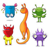 Monsters. Five cheerful multi-colored monsters have different emotions Stock Images