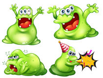 Monsters. Flashcard of four green monsters Stock Photo