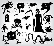 Monsters, Ghosts And The Grim Reaper. A collection of silhouettes for halloween, fantasy and horror Royalty Free Stock Photography