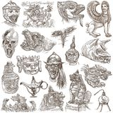 Monsters - an hand drawn collection. An hand drawn collection. Pack of Monsters. Horror. Line Art technique Royalty Free Stock Photography