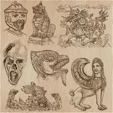 Monsters - an hand drawn vector collection. An hand drawn vector collection. Pack of Monsters. Horror. Line Art technique Royalty Free Stock Photo