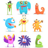 Monsters Having Fun At The Party. Funky Creatures Colorful Characters With Party Attributes On White Background Stock Images