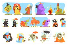 Monsters Hiking And Camping. Funky Creatures Colorful Characters With Walking Outdoors stock illustration
