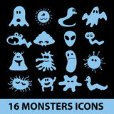 Monsters icon collection eps10. Blue monsters icon collection eps10 Vector Illustration
