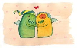 Monsters in liefde Royalty-vrije Illustratie