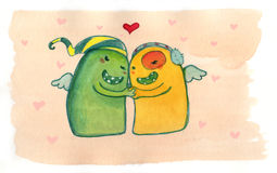 Monsters in love. Two funny smiling monsters in hug. Watercolor illustration Royalty Free Stock Images
