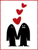 Monsters in Love. Vector design of black monsters in love, holding hands royalty free illustration