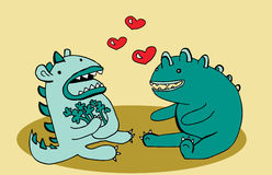 Monsters in love illustration. Illustration of two cute monsters in love sitting at their first date among hearts Royalty Free Stock Photo